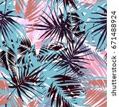 exotic seamless tropical... | Shutterstock .eps vector #671488924