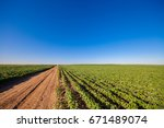 drone with a camera on a green... | Shutterstock . vector #671489074