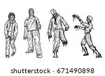 set of zombie by hand drawing... | Shutterstock .eps vector #671490898