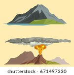 volcano magma nature blowing up ... | Shutterstock .eps vector #671497330