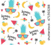 summer pattern. watermelon ... | Shutterstock .eps vector #671503288
