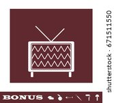 tv icon flat. white pictogram...