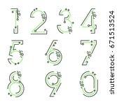 element  set of ten numbers... | Shutterstock .eps vector #671513524