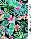 seamless hand painted... | Shutterstock . vector #671516620
