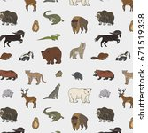 animals of north america doodle ... | Shutterstock .eps vector #671519338