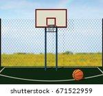 empty street playground for...   Shutterstock .eps vector #671522959