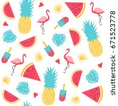 summer pattern. watermelon ... | Shutterstock .eps vector #671523778