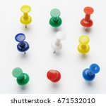 Push Pins Isolated On White...