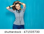 smiling happy teenager girl... | Shutterstock . vector #671535730