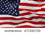 national flag of the usa waving ... | Shutterstock . vector #671542720