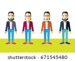 men colorful vector flat design | Shutterstock .eps vector #671545480