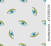 seamless pattern with eyes.... | Shutterstock .eps vector #671550124