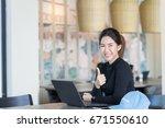 young asian woman freelancer...   Shutterstock . vector #671550610