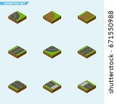 isometric road set of footpath  ...   Shutterstock .eps vector #671550988