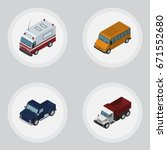 isometric car set of freight ...