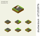 isometric way set of crossroad  ... | Shutterstock .eps vector #671553976