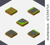 isometric road set of footpath  ... | Shutterstock .eps vector #671554714