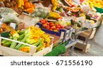 fresh vegetables and fruits... | Shutterstock . vector #671556190
