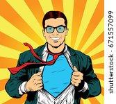 super hero male businessman pop ... | Shutterstock . vector #671557099