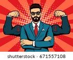hipster beard businessman with... | Shutterstock .eps vector #671557108
