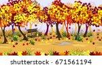 autumn park landscape with... | Shutterstock .eps vector #671561194