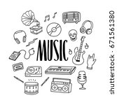 music hand drawn doodle icons... | Shutterstock .eps vector #671561380