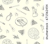 vector illustration. pizza and... | Shutterstock .eps vector #671562454