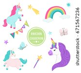 vector collection of cute... | Shutterstock .eps vector #671567236