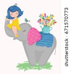 cute girl and elephant with a... | Shutterstock .eps vector #671570773