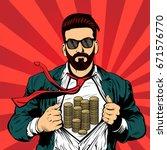 hipster beard male businessman... | Shutterstock .eps vector #671576770