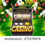 3d slots machine wins the... | Shutterstock .eps vector #671578474