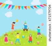 children have fun party.... | Shutterstock .eps vector #671579704