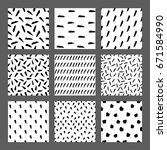 hand drawn ink seamless pattern ... | Shutterstock .eps vector #671584990