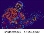musician with a guitar ... | Shutterstock .eps vector #671585230