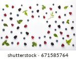 fruit pattern made of fresh... | Shutterstock . vector #671585764