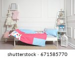 beautiful children's bed in... | Shutterstock . vector #671585770