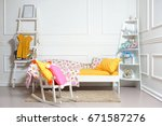 beautiful children's bed in... | Shutterstock . vector #671587276