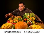 diet fat man who makes choice... | Shutterstock . vector #671590630