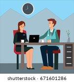 happy coworkers working...   Shutterstock .eps vector #671601286