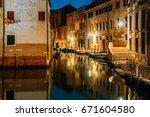 venice city at summer night.... | Shutterstock . vector #671604580