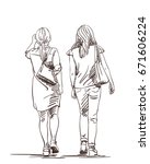 hand drawn two walking women... | Shutterstock .eps vector #671606224