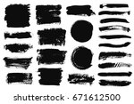 set of black paint  ink brush... | Shutterstock .eps vector #671612500