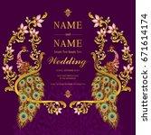 wedding invitation card... | Shutterstock .eps vector #671614174