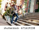 casual businessman going to... | Shutterstock . vector #671619238