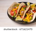 tacos with pork  vegetables and ...   Shutterstock . vector #671621470