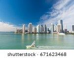 miami skyline skyscrapers ... | Shutterstock . vector #671623468