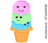cute cartoon ice cream.... | Shutterstock .eps vector #671630038