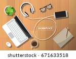realistic workplace... | Shutterstock .eps vector #671633518