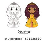 cute princess in beautiful gown.... | Shutterstock .eps vector #671636590