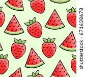 strawberry  watermelon...   Shutterstock .eps vector #671638678